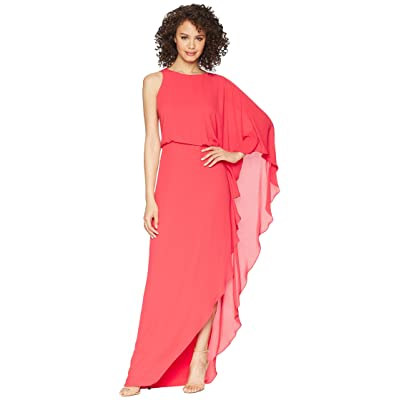 Halston Heritage Flowy One Sleeve Round Neck Gown w/ Back Cowl (Rose Red) Women