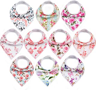 10-Pack Baby Bandana Bibs Upsimples Baby Girl Bibs for Drooling and Teething, 100% Organic Cotton and Super Absorbent Hypoallergenic Bibs Baby Shower Gift - ?Blossom Set?