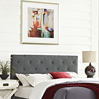 Modway Terisa Tufted Button Diamond Pattern Linen Fabric Upholstered Queen Headboard in Gray