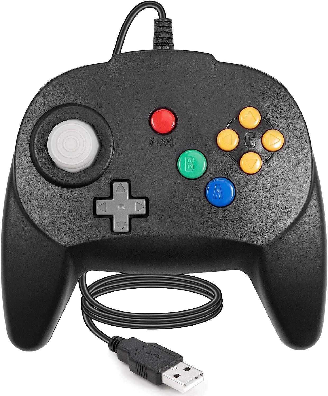 LUXMO PREMIUM Wired USB Controller for N64 Games, Classic USB Gamepads Joystick for Windows PC MAC Raspberry Pi3 (Black)