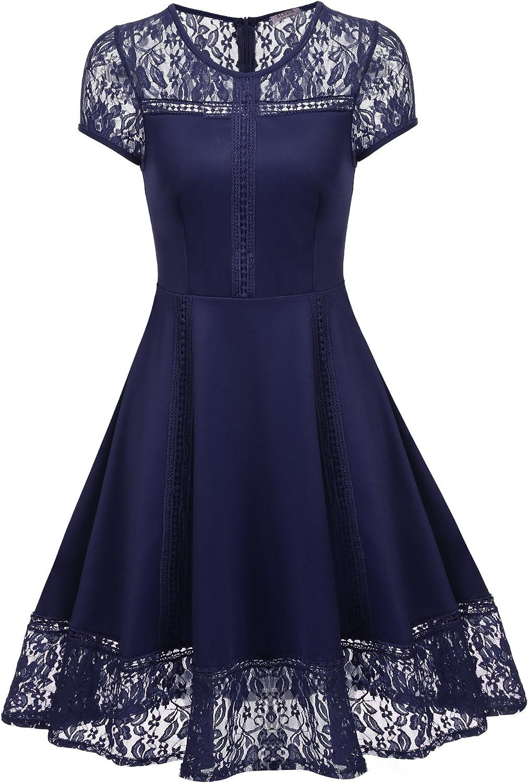ACEVOG Women's Vintage 1950s Lace Floral Cap Sleeve Retro Swing Dresses