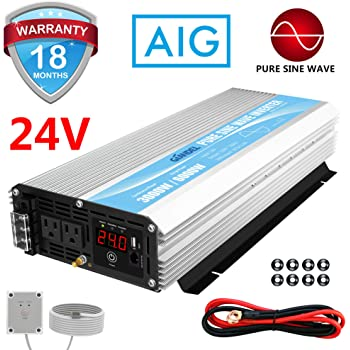 24V Pure Sine Wave Power Inverter 3000Watt DC 24V to AC120V with Dual AC Outlets with Remote Control 2.4A USB and LED Display
