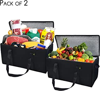 """21x10x10"""" 2 Pcs. Extra Large Insulated Food Delivery, Thermal Catering Bag, Grocery Bag With Waterproof Lining, Collapsible & Reusable With Zipper Top"""