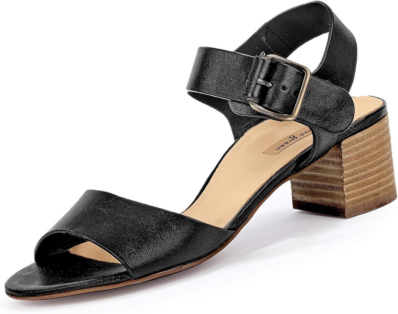 Paul Grün 7402-044 Damen Elegante Sandalette aus Glattleder mit 45-mm-Absatz, Groesse 41 1 2, schwarz