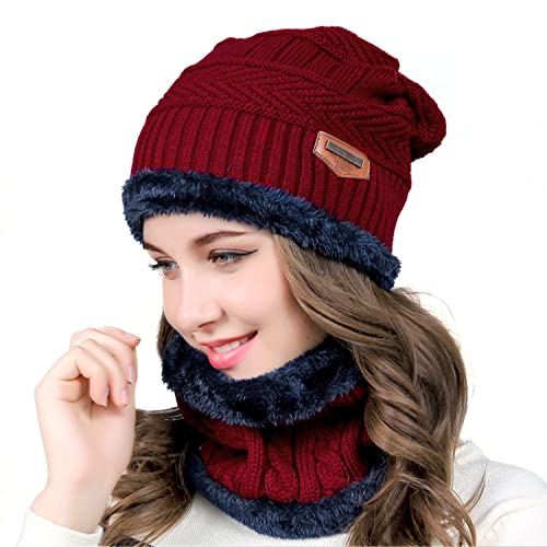 fbcaf597818 MUCO Womens Mens Winter Hat Warm Thick Beanie Cap Scarf for Winter Knit Ski  Beanies