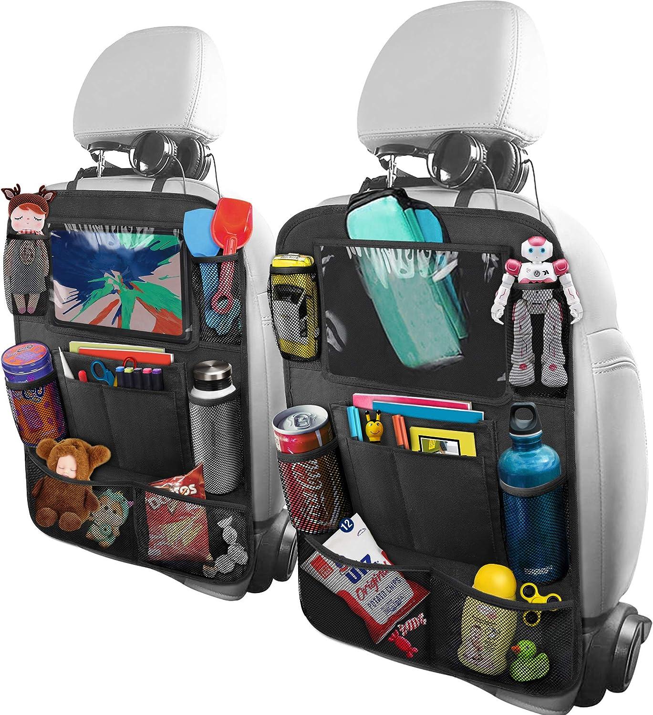 BELKA Car Backseat Organizer with 10 Inch Tablet Holder + 9 Storage Pockets Car Back Seat Protectors Kick Mats for Kids Toy Bottle Drink Universal Travel Accessories for Toddlers Black, 2 Pack
