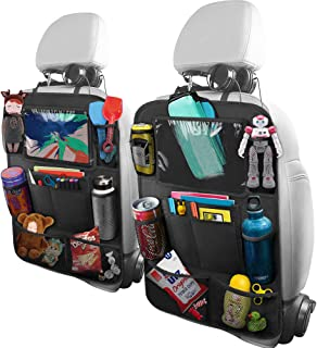 BELKA Car Backseat Organizer with 10 Inch Tablet Holder + 9 Storage Pockets Car Back Seat Protectors Kick Mats for Kids To...