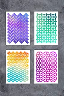 GSS Designs Patterns Stencil Template Set(4 Pack)- Geometric Figure A5(6x8.25 Inch) - Art Painting for Card Making Scrapbooks Canvas Furniture Wall(SL-023)