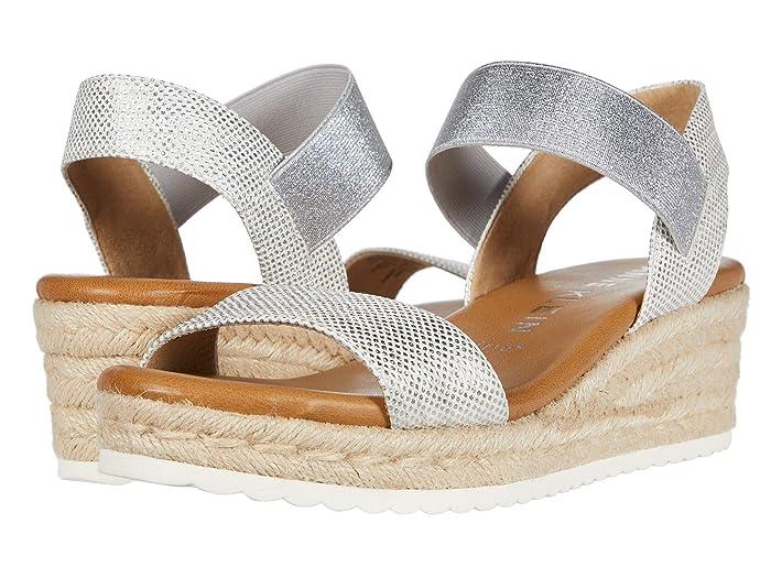 70s Shoes, Platforms, Boots, Heels Anne Klein Cara Wedge Sandal Silver Womens Shoes $79.95 AT vintagedancer.com
