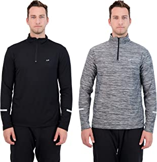 UNIPRO Mens 2 Pack Zip-Up Hoodie or Quarter Zip Quick Dry Sweatshirt Gym Clothes for Workout and Exercise