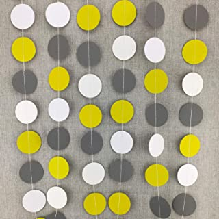 Famicitate Circle Dots Paper Party Garland Backdrop Hanging Decorations for Wedding Baby Shower Birthday Party Decorations(Pack of 3, 13 Feet Per Garland)-Yellow/Gray/White