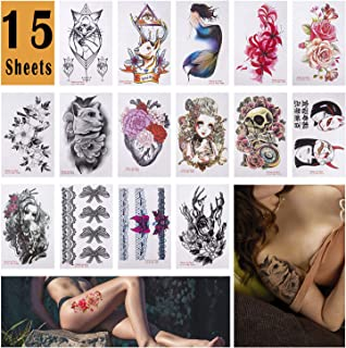 HUOB 15 Sheets Large Temporary Tattoos Body Tattoo Sticker for Women Girl for Arms Legs Shoulder or Back