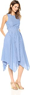 Tahari by Arthur S. Levine Womens Cotton Stripe Dress Sleeveless Dress - Blue