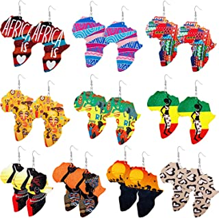 10 Pairs Wooden Earrings African Map Jewelry Ethnic Style Earring Multicolor Bohemian Drop Earrings for Women and Girls