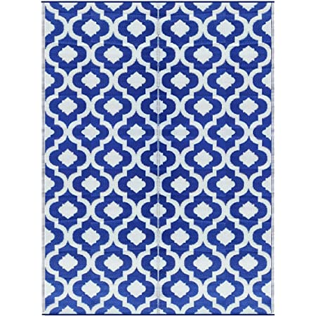 BalajeesUSA Outdoor Patio Rugs clearance 5'x7' (152 cm x 214 cm) Blue n White 4477