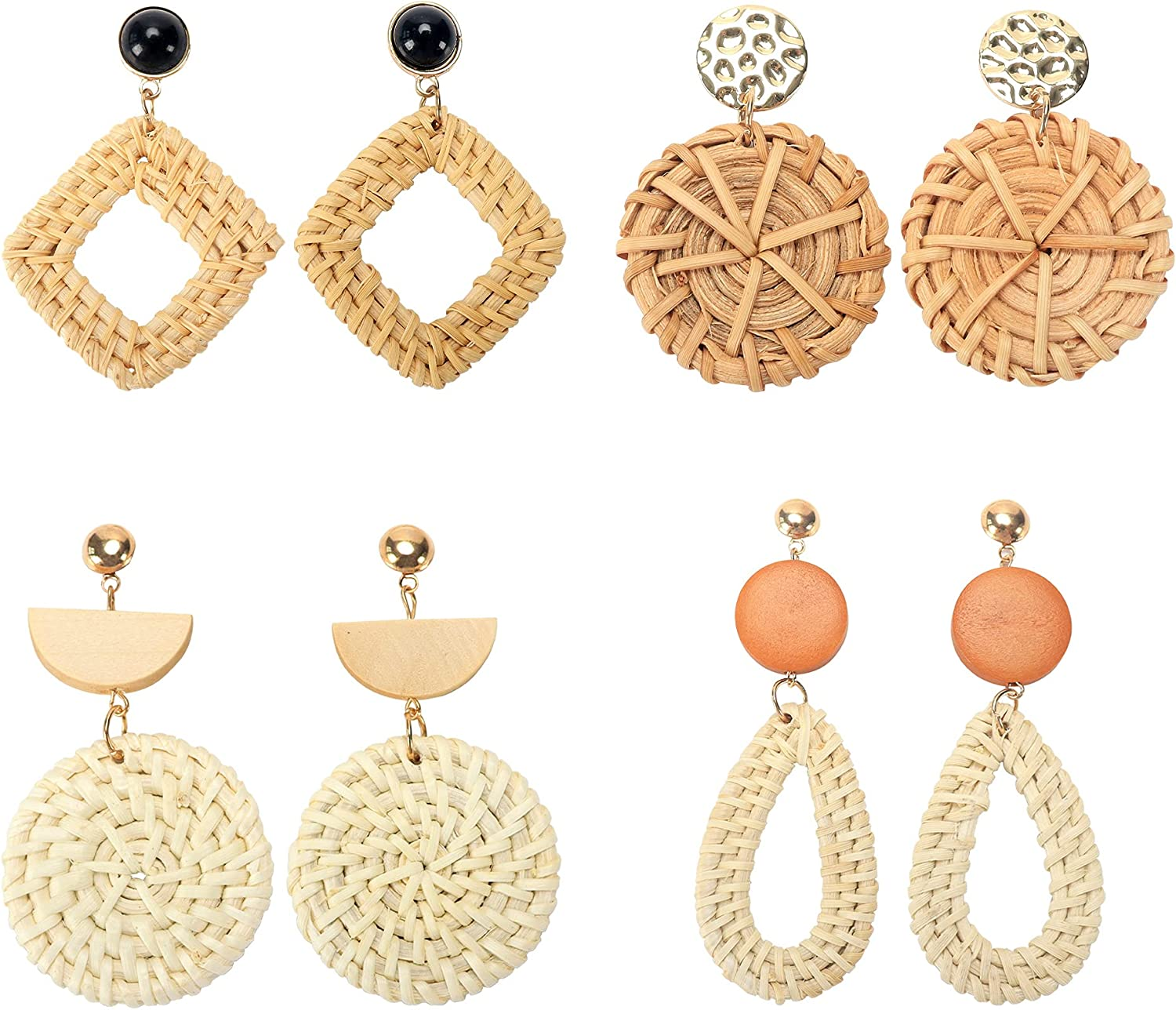Rattan Knitted Earrings Set 4 Ac Geometric Pendant Recommendation Pair quality assurance