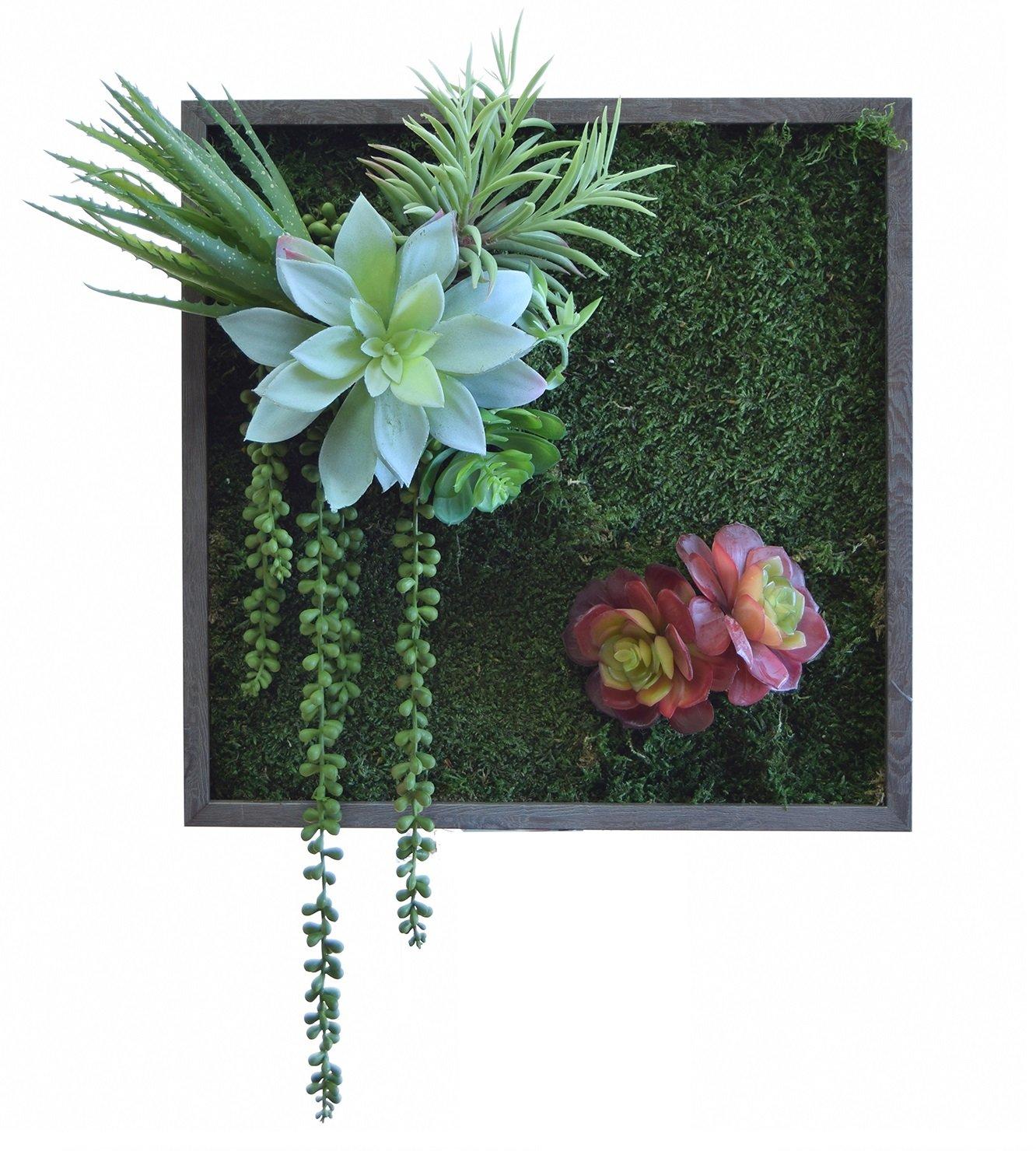 e-flor made man Jardín Vertical Artificial 41x45cm, Compuesto por una Base de Musgo preservado Sobre Tronco Natural. Materiales de Alta Calidad, Ideal para Decoración de hogar: Amazon.es: Hogar