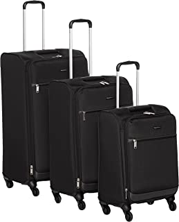 AmazonBasics 3 Piece Softside Carry-On Spinner Luggage Suitcase Set - Black
