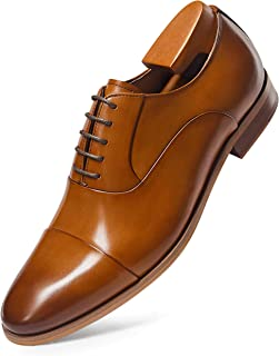 Frasoicus Men's Dress Shoes Oxford Formal Lace Up Wingtip Leather Shoes for Men