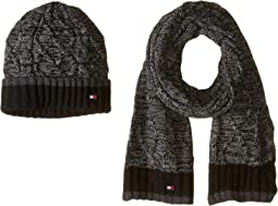 Marled Cable Color Block Hat and Scarf Set