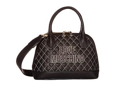LOVE Moschino Stitched Love Bag (Black PU/Black PU) Handbags