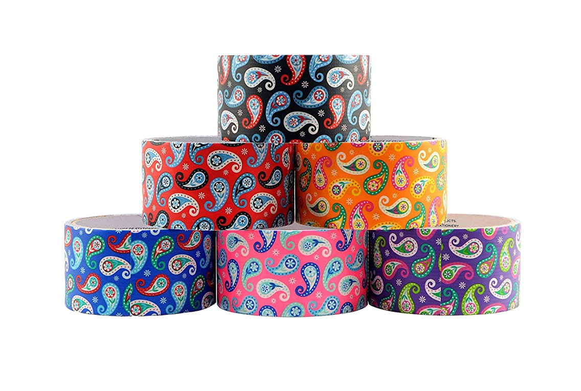 6 Roll Variety Pack of Decorative Duct Style Tape, Paisley Tape, Each Roll 1.88 Inch x 5 Yards, Ideal for Scrapbooking - Decorating - Signage (6-Pack, Paisley)