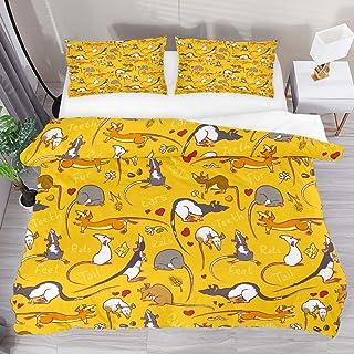 Duvet Cover Set, King Bedding Set 3 Pieces, Fancy Rat Pattern Comforter Sheet Set with Pillow Shams Room Decor for Boys Gi...