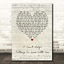(I Can't Help) Falling in Love with You Script Heart Song Lyric Wall Art Gift Print