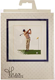 Thea Gouverneur TG3032A 18 Count Counted Cross Stitch Kit, 6-1/4 by 6-3/4-Inch, Golf on Aida