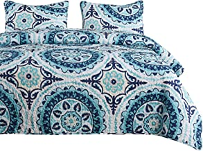 Wake In Cloud - Mandala Quilt Set, Teal Turquoise and Navy Blue Bohemian Boho Chic Pattern Printed on White, Soft Microfiber Bedspread Coverlet Bedding (3pcs, Queen Size)