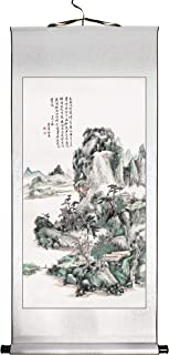Colored Mountain and Water I by Huang Binhong, Chinese Painting Print on Rice Paper, Premium Hanging Scroll, Size 35