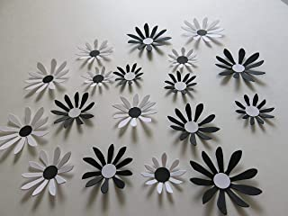 Black and White Daisies Set, 18 Piece Big 3D Wall Decals, 2-3