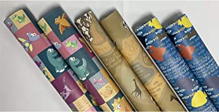 eVincE 3 assorted design Gift Wrapping paper roll   Brown Giraffe   Dinosaurs   Blue Fish Papers with fun facts   all occa...