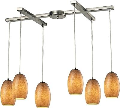 """ELK Lighting 10330/6TB Andover Collection 6 Light Chandelier, 9 x 17 x 33"""", Satin Nickel"""