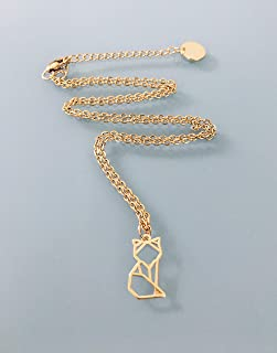 Collana di volpe in acciaio inossidabile d'oro, gioielli d'oro, gioiello di volpe, collana fortunata, gioielli regalo, vol...