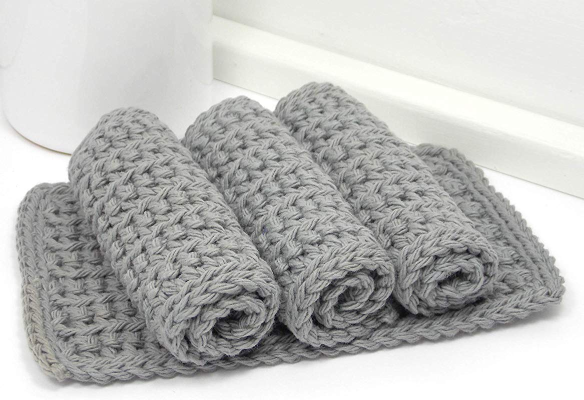 Handmade Grey 4 Inch X 7 Inch Rectangular Crochet Cotton Dishcloths Set Of 4 Gray Dishrags