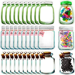 Patelai 30 Pieces Mason Jar Bottles Bags Mason Jar Zipper Lock Bags Reusable Food Storage Bags Snacks Sandwich Zipper Sealed Bags Fresh Bags Airtight Seal Storage Bags Nuts Candy Cookies Bags