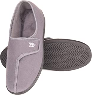 EuropeanSoftest Men's 80-D Memory Foam Adjustable Closure Slippers, Comfy Warm Plush Fleece Arthritis Edema Adjustable Closure House Shoes Breathable Machine Washable Indoor/Outdoor w/Anti Slip Sole