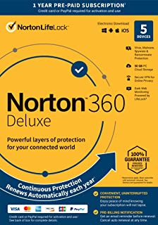 Norton 360 Deluxe  Antivirus Software for 5 Devices with Auto Renewal - Includes VPN, PC Cloud Backup & Dark Web Monitoring Powered by LifeLock [Key Card]