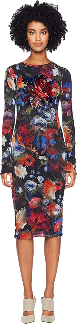 Long Sleeve Embroidery Printed Dress