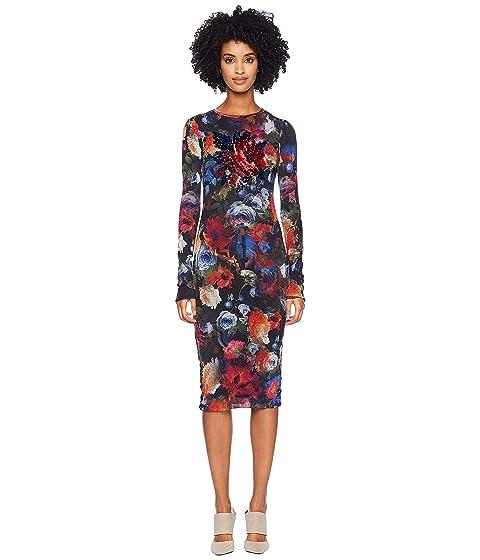 FUZZI Long Sleeve Embroidery Printed Dress