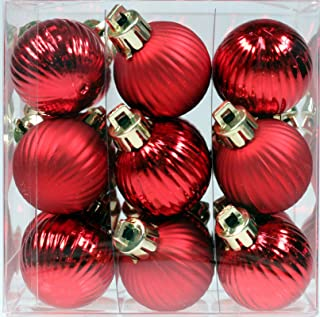 Creative Hobbies 27-Pack of Mini Christmas Tree Ornaments - 1 Inch Shatterproof Petite Christmas Balls Decoration, Red Colors, Hanging Plastic Bauble Holiday Decor