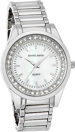 Daniel David Women's | Silver-Tone Bracelet & Rhinestone-Accented Bezel | DD11702