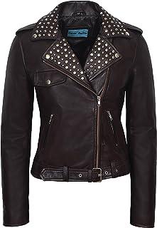 Carrie CH Hoxton Señoras Chaqueta de Cuero Real 100% Piel de Cordero clásico Tachonado Cuello Moda Biker Estilo 4326