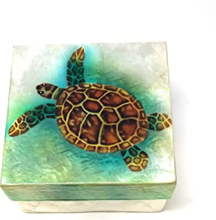 Kubla Craft Sea Turtle Capiz Shell Keepsake Box, 4 Inches Square