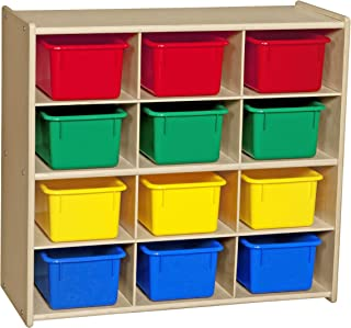 Contender Baltic Birch 12-Cubby Storage Unit w/Colorful Tubs - RTA