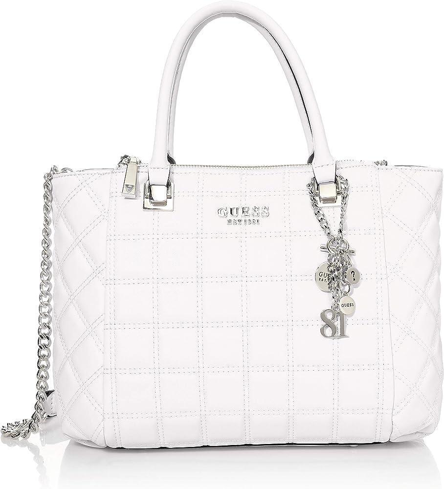 Guess kamina status satchel white, borsetta per donna, 100% poliuretano VY811106 - WHI