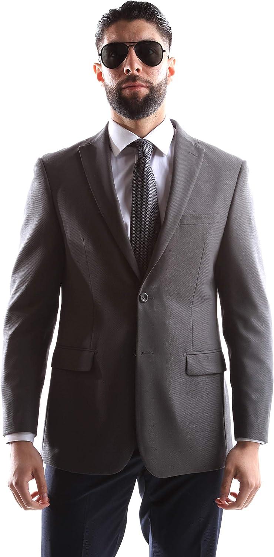 Prontomoda Men's 2 Button Luxury Lamb Wool Sport Coat