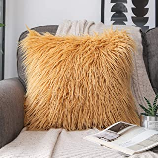 Phantoscope Luxury Series Throw Pillow Covers Faux Fur Mongolian Style Plush Cushion Case for Couch Bed and Chair, Ginger 18 x 18 inches 45 x 45 cm