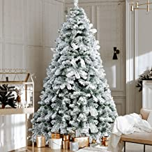2.1M Christmas Tree 7FT Xmas Faux Snowy Tree Thick Foliage Jingle Jollys Holiday Decoration Indoor Décor Home Office Class...